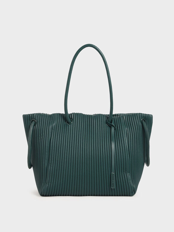 Neoprene Drawstring Tote Bag, Dark Green, hi-res