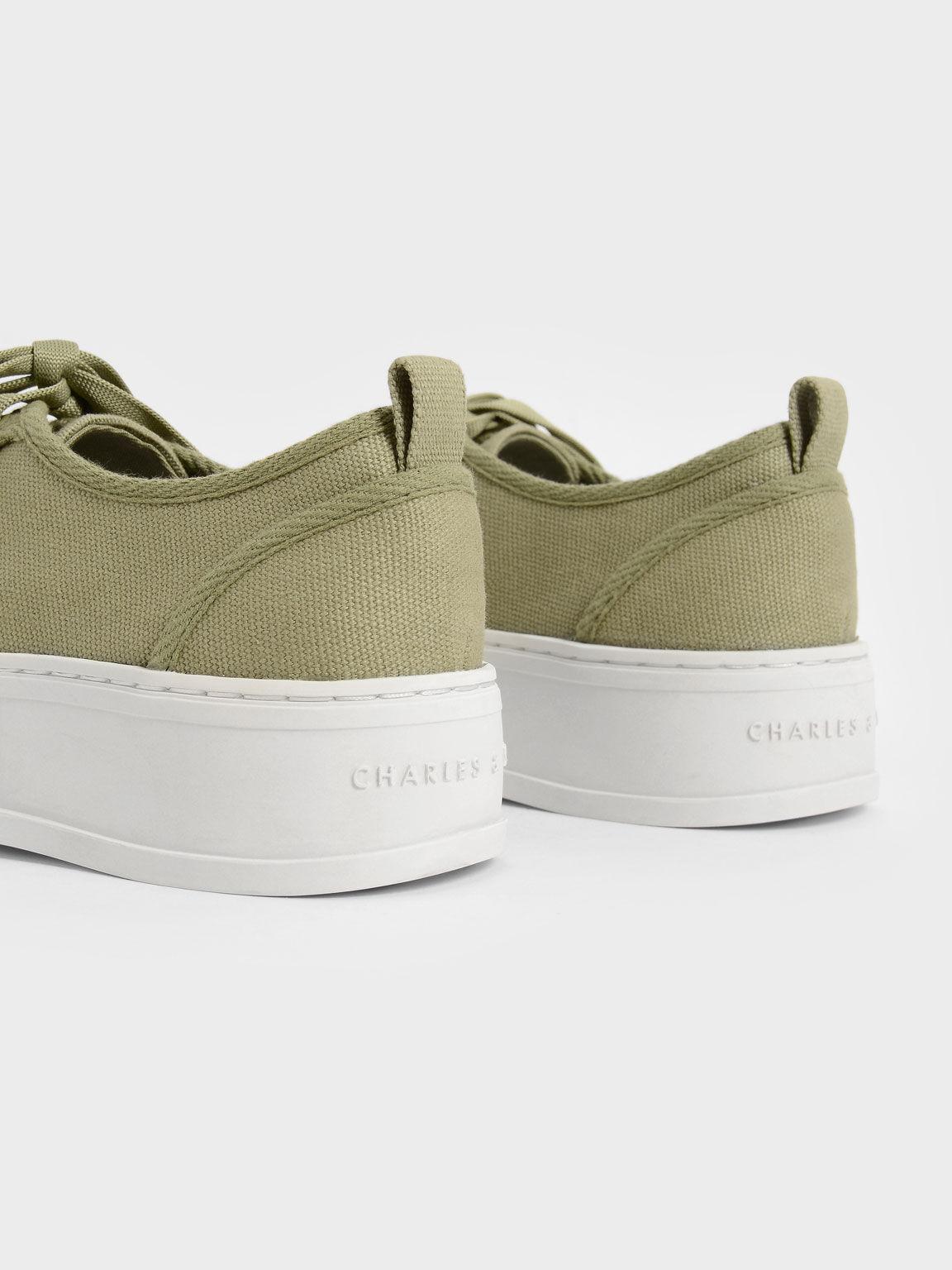 Organic Cotton Low-Top Sneakers, Green, hi-res