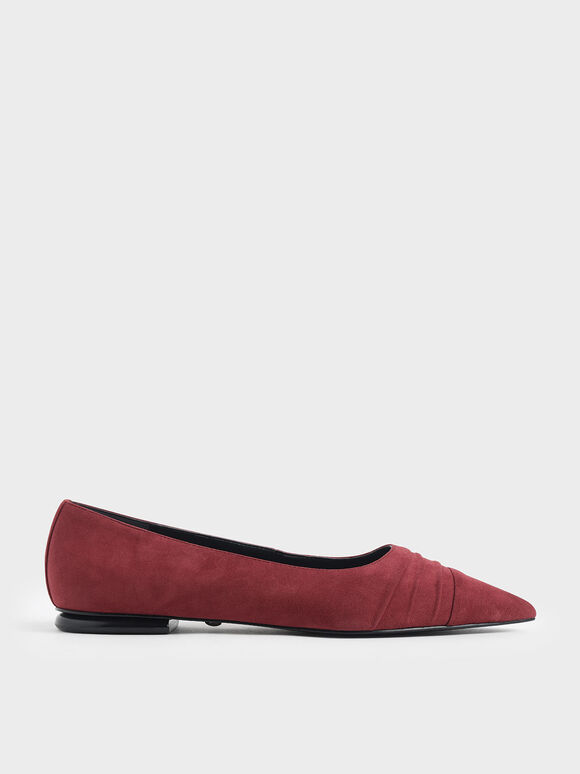 Kid Suede Ruched Ballerina Flats, Red, hi-res
