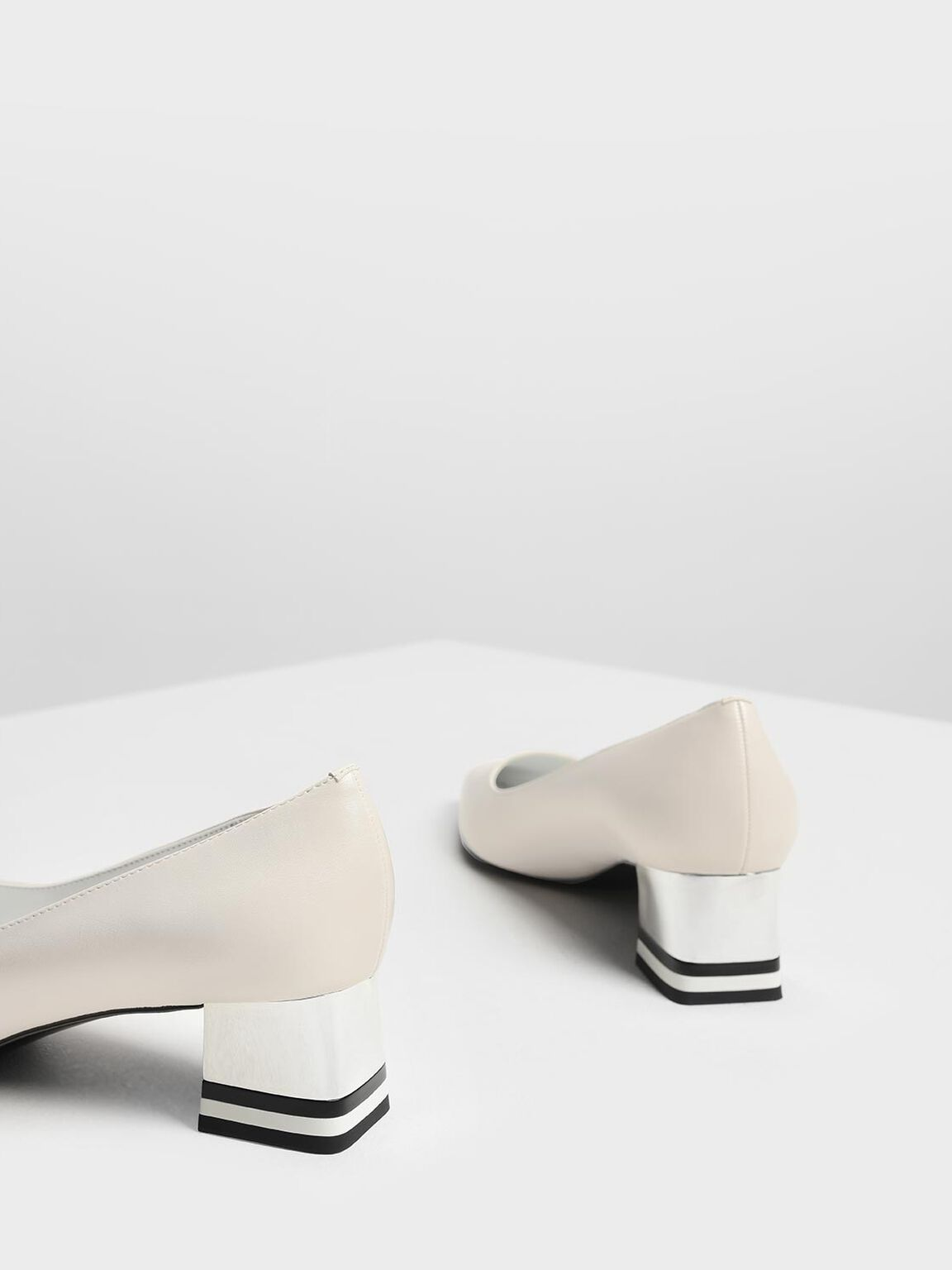 Striped Chrome Heel Pumps, Cream, hi-res