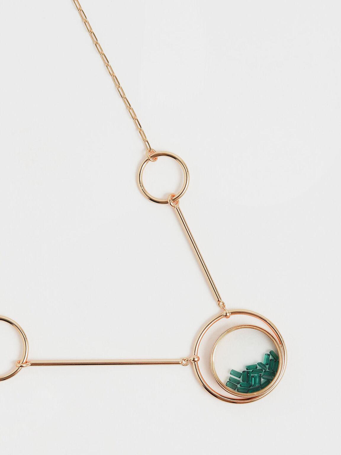 Swarovski®Crystal Emerald Stone Ring Detail Floating Locket Matinee Necklace, Copper, hi-res