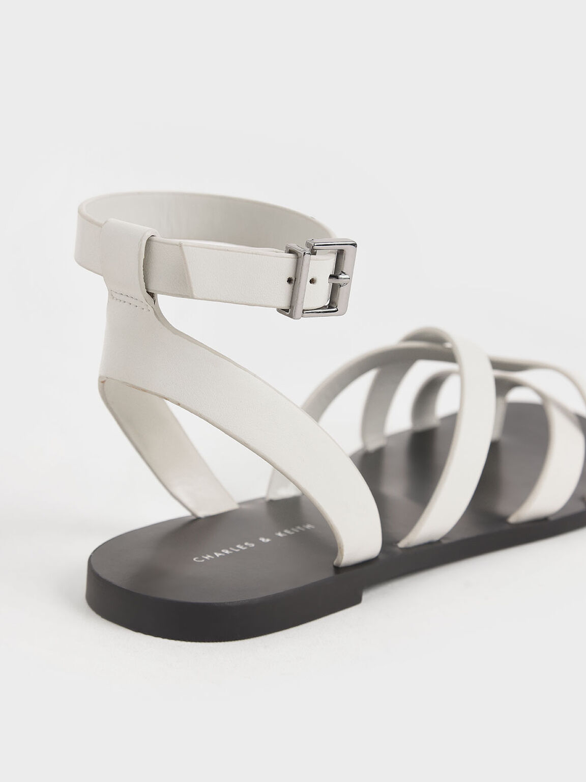 Toe Ring Strappy Sandals, White, hi-res