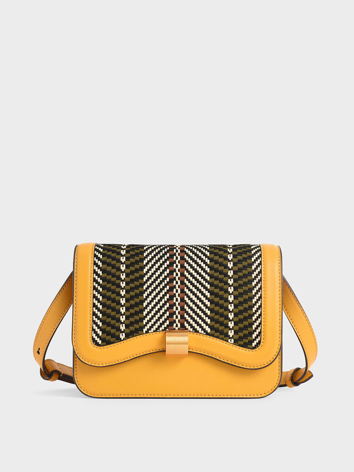 Woven Crossbody Bag, Yellow, hi-res