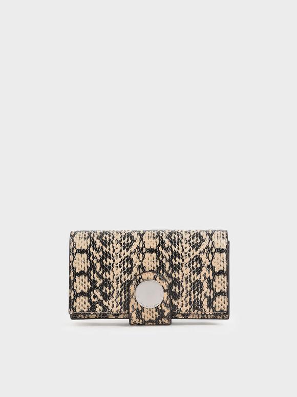 Mini Snake Print Chrome Button Wallet, Beige, hi-res