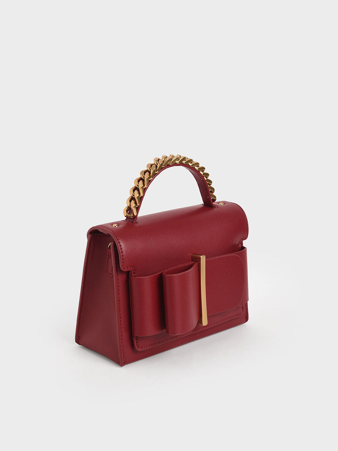 Bow Top Handle Bag, Red, hi-res