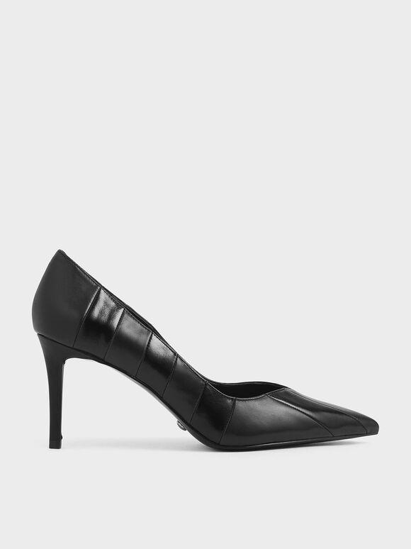 真皮條紋高跟鞋, 黑色, hi-res