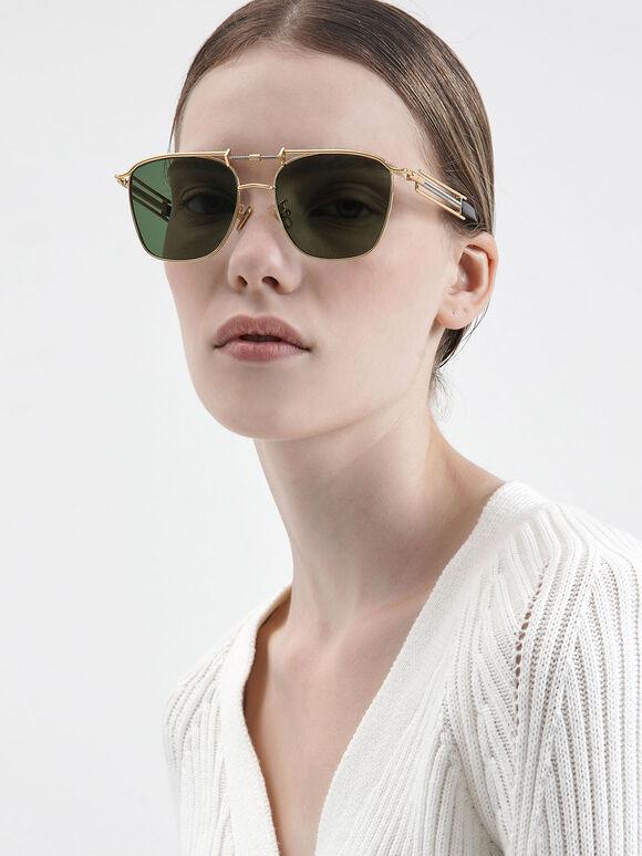 Square Double Bridge Sunglasses, Olive, hi-res