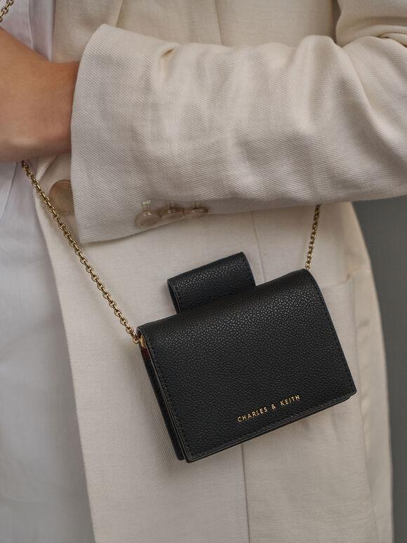 Top Tab Snap Button Wallet, Black, hi-res