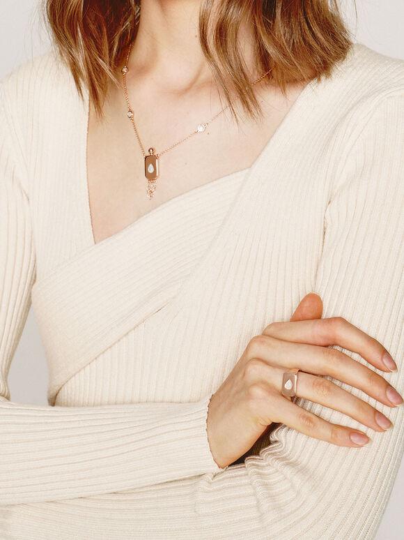 月光石水滴戒指, 玫瑰金, hi-res