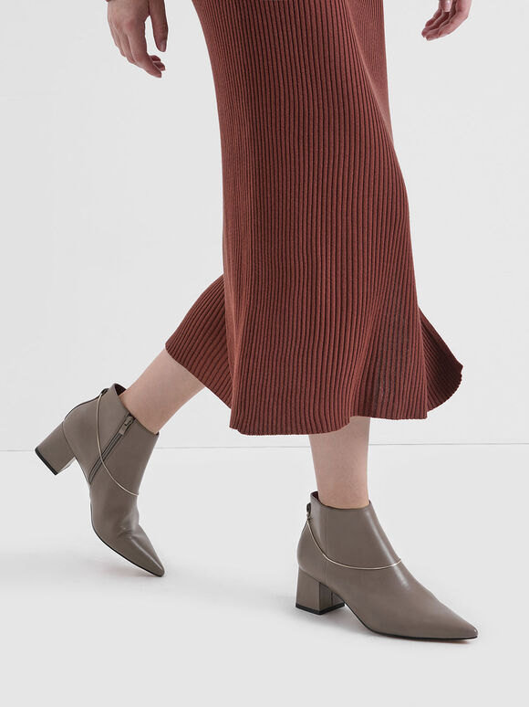 Chain Link Ankle Boots, Taupe, hi-res