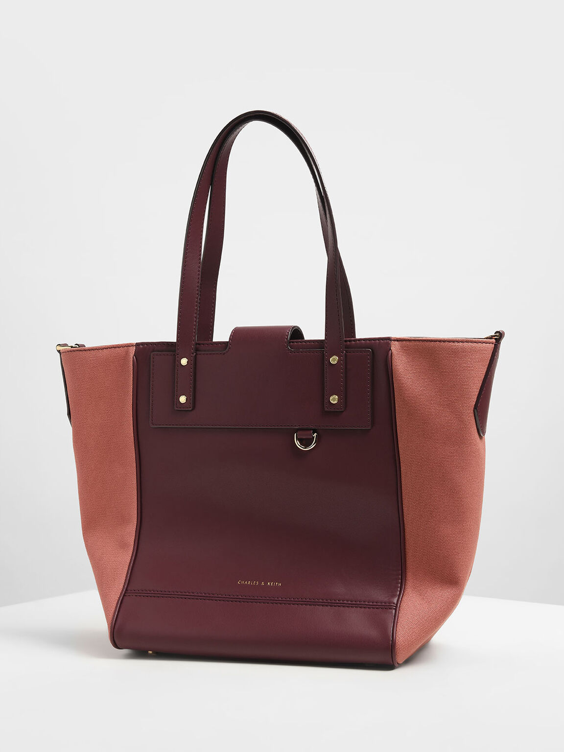 Canvas Trapeze Tote Bag, Burgundy, hi-res