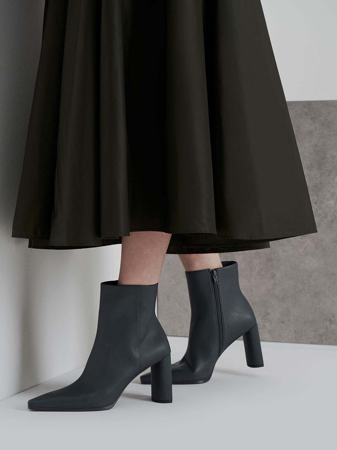 Blade Heel Ankle Boots, Grey, hi-res