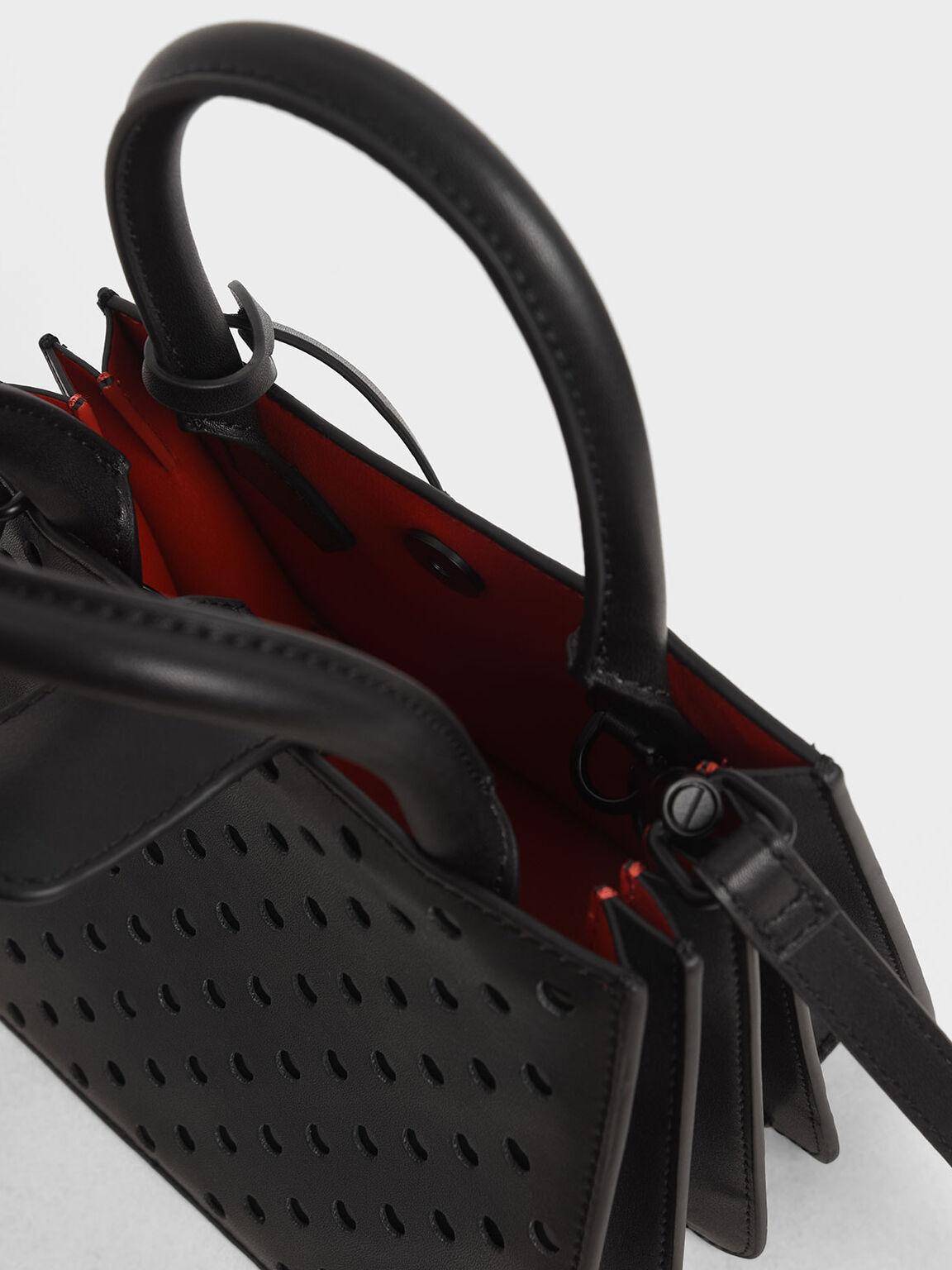 레이저-컷 핸드백, 블랙, hi-res