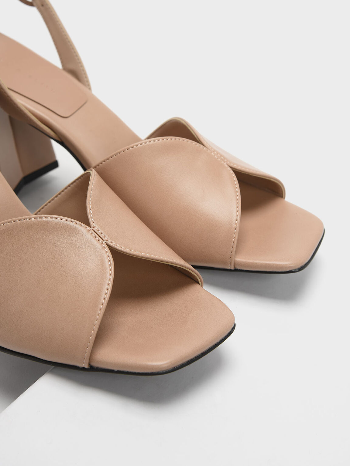 Open Toe Slingback Block Heel Sandals, Nude, hi-res