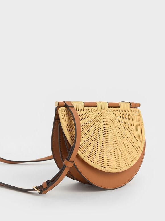 Rattan Semi-Circle Crossbody Bag, Cognac, hi-res