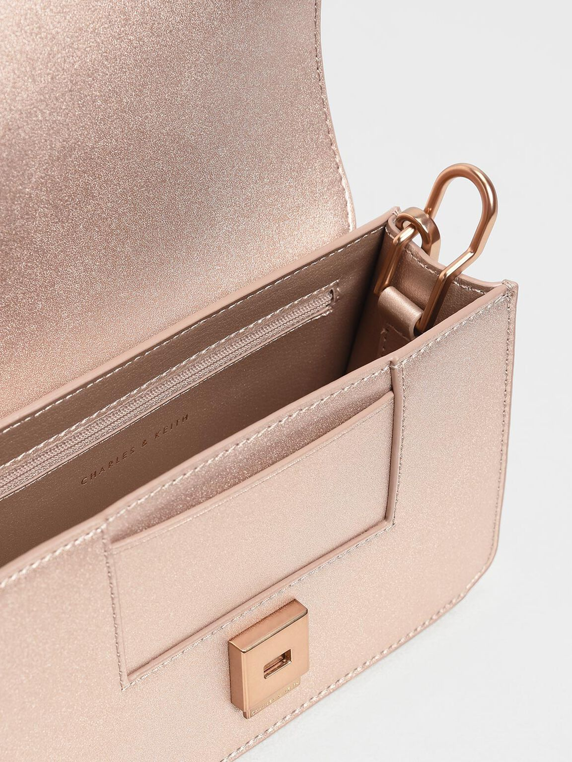 Front Tab Metallic Push Lock Bag, Rose Gold, hi-res