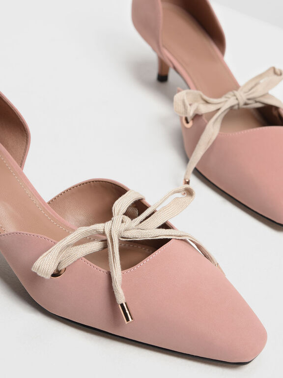Bow Detail D'Orsay Kitten Heels, Blush