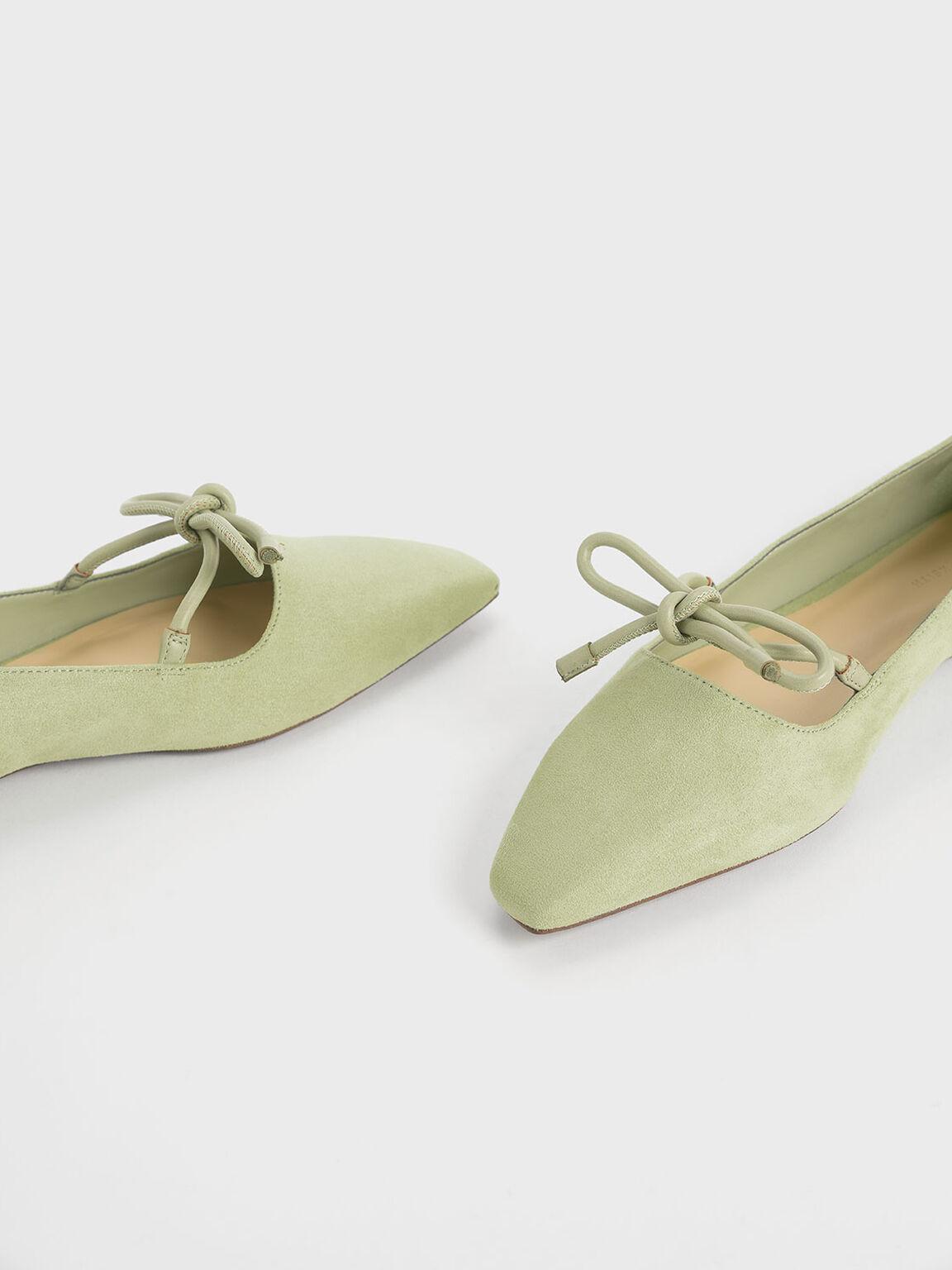 Textured Mini Square Toe Bow Strap Ballerina Flats, Green, hi-res