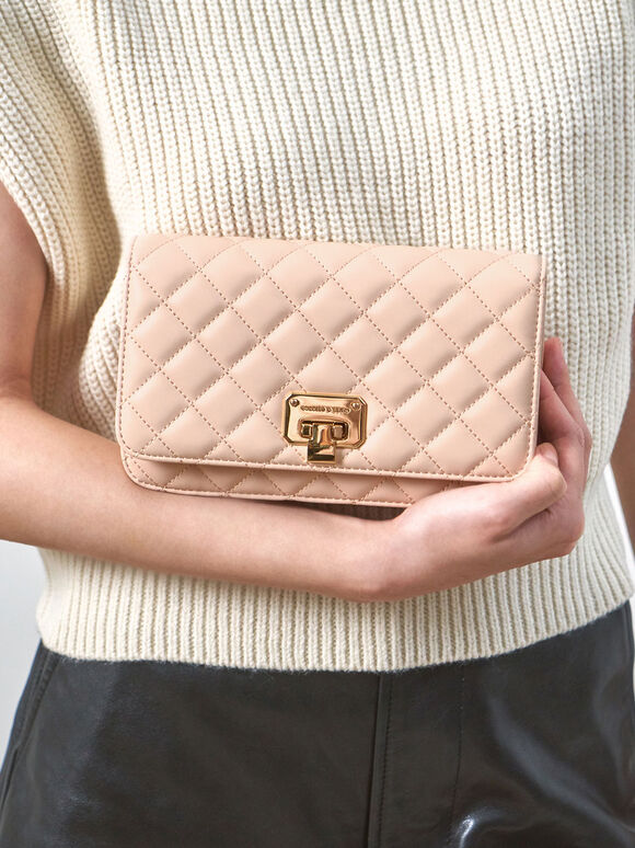 Quilted Flip-Lock Clutch, Nude, hi-res