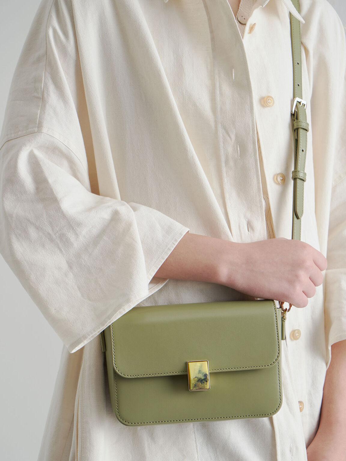 Leather Embellished Push-Lock Crossbody Bag, Sage Green, hi-res