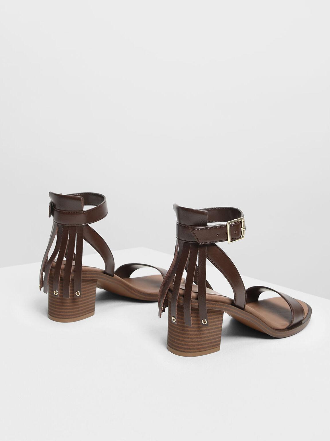 Fringe Trim Block Heel Sandals, Dark Brown, hi-res