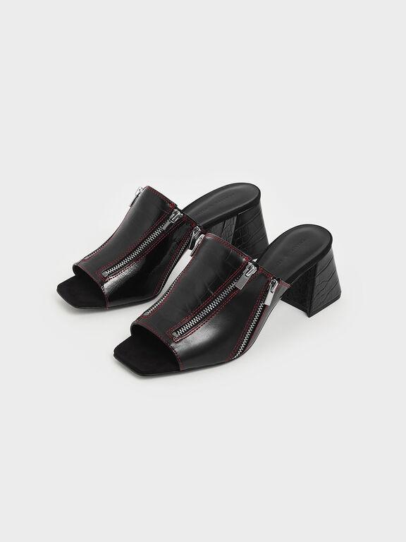 Croc-Effect Wrinkled Patent Zip Detail Slide Sandals, Black