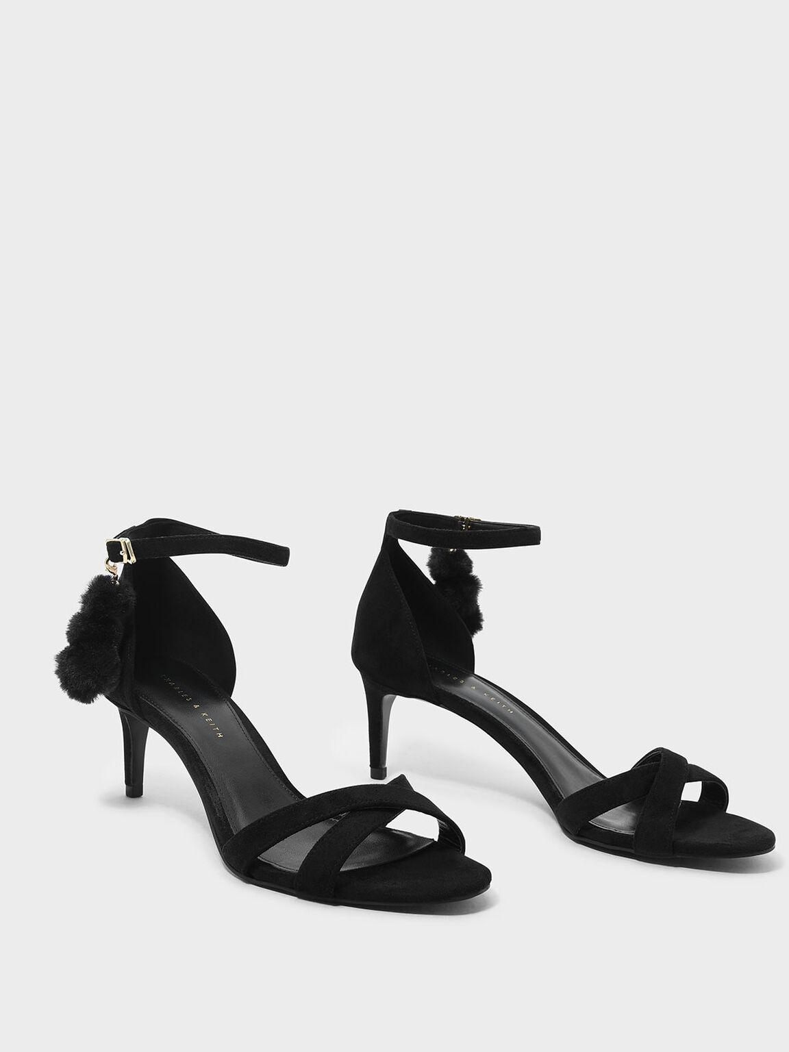 Pom Pom Detail Criss Cross Heeled Sandals, Black, hi-res