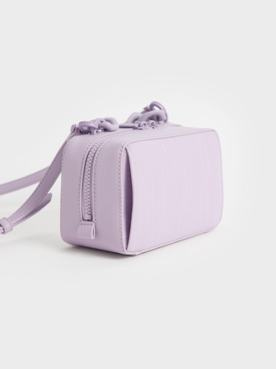 粗鍊麻質小方包, 紫丁香色, hi-res