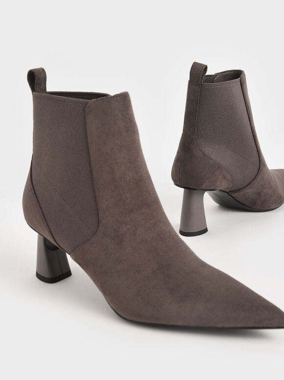 Textured Spool Heel Ankle Boots, Taupe, hi-res