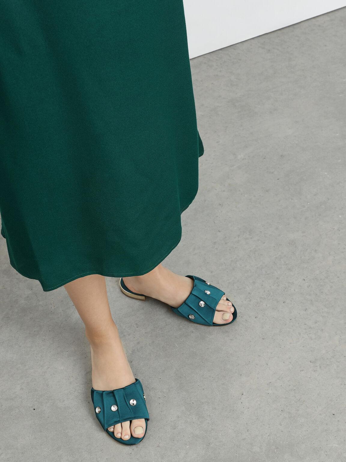 Bejeweled Ruching Slide Sandals, Dark Green, hi-res