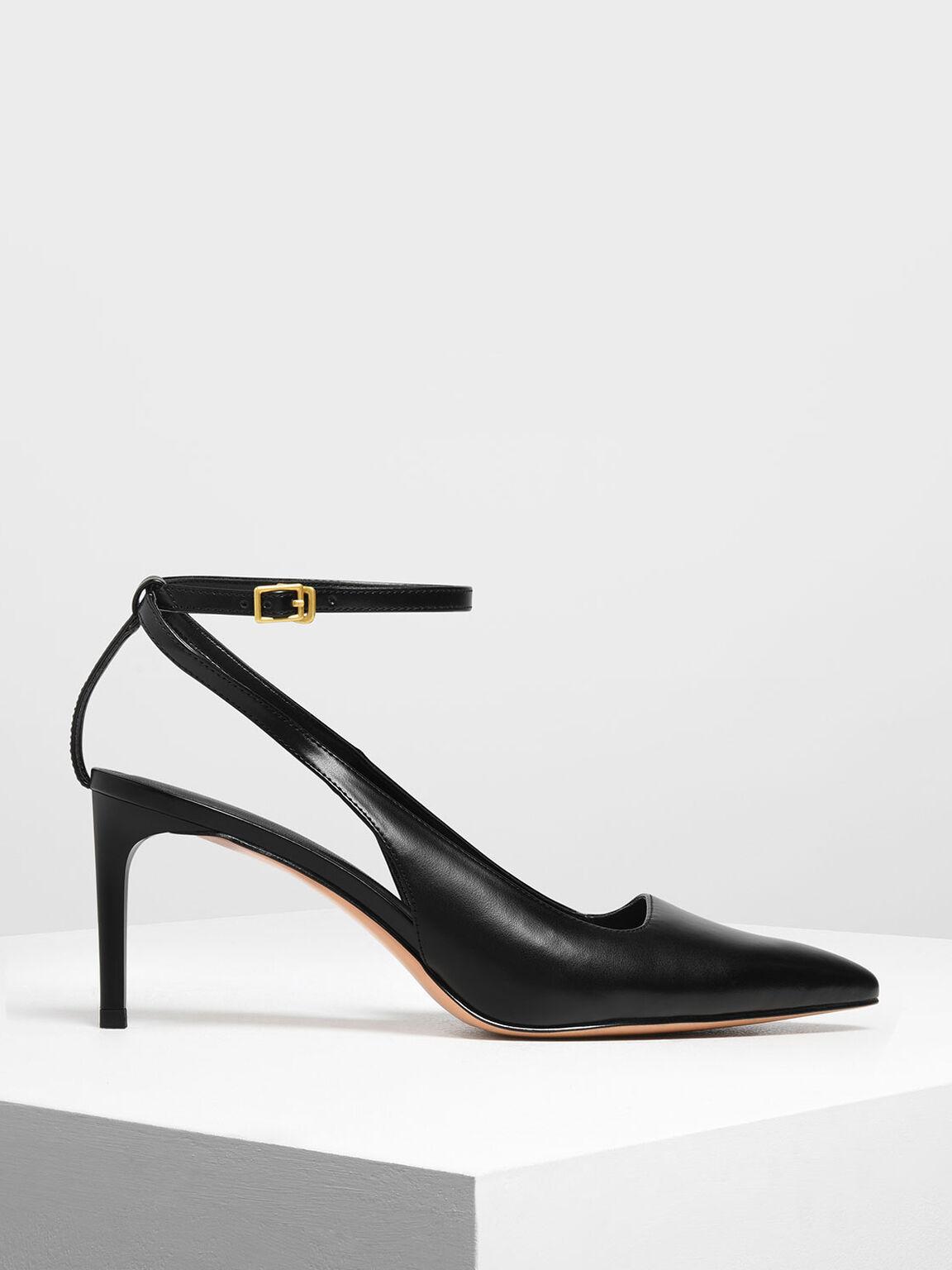 Ankle Strap Slingback Pumps, Black, hi-res