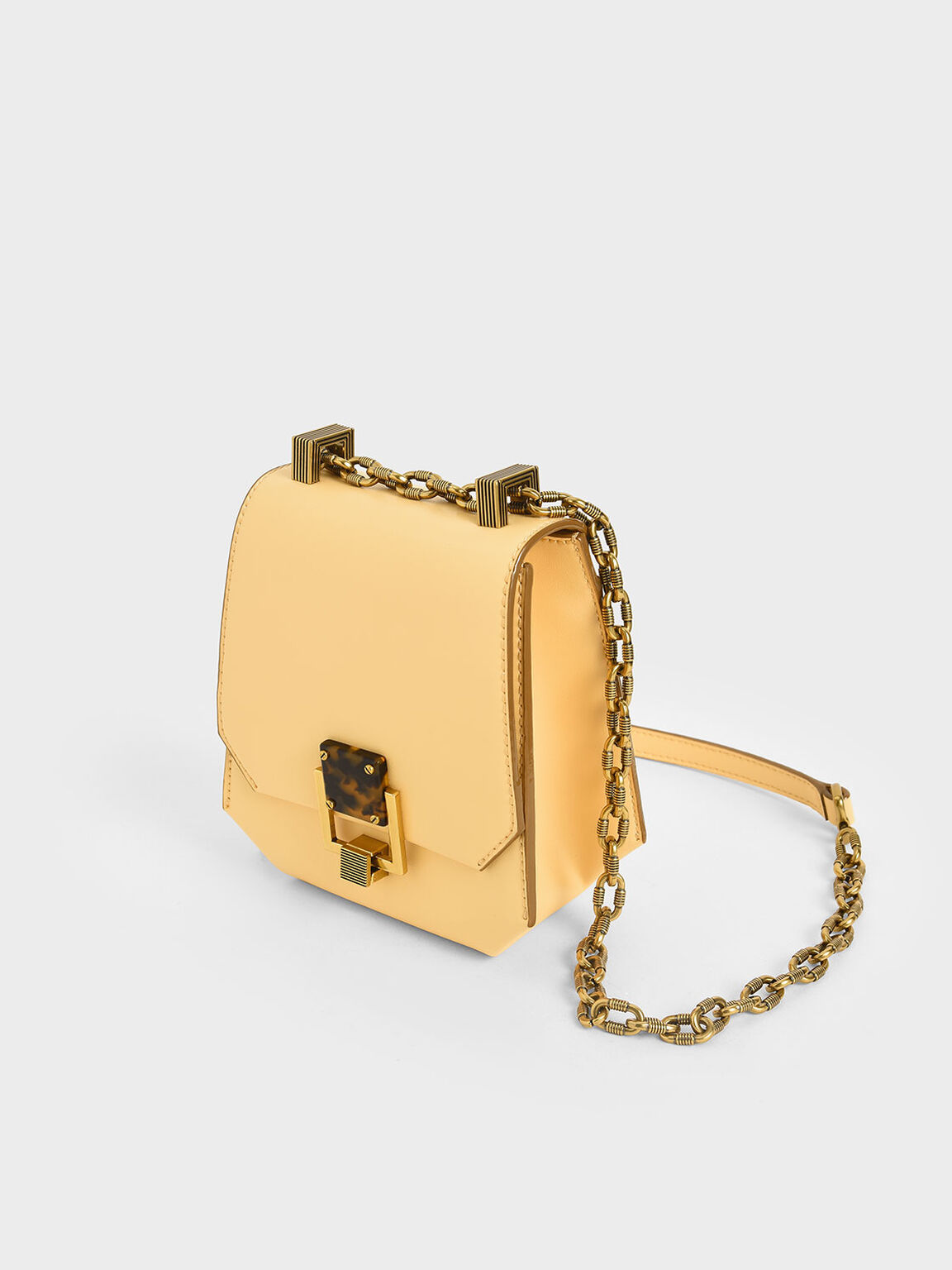 Metallic Accent Geometric Crossbody Bag, Yellow, hi-res