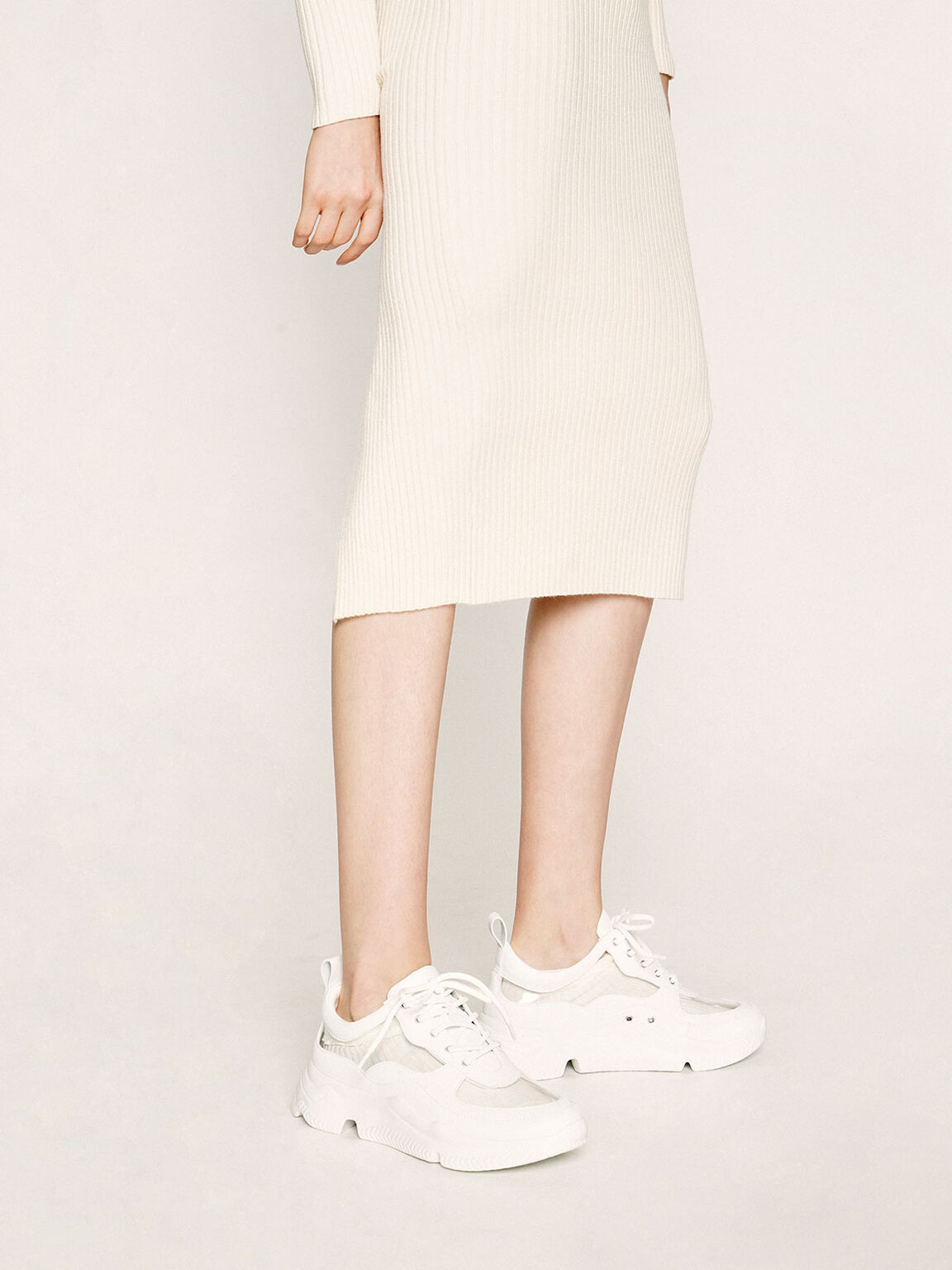 See-Through Chunky Sneakers, White, hi-res