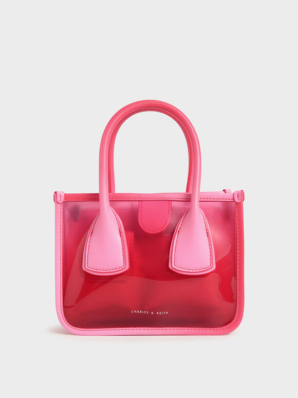 果凍拼接手提包, 紅色, hi-res