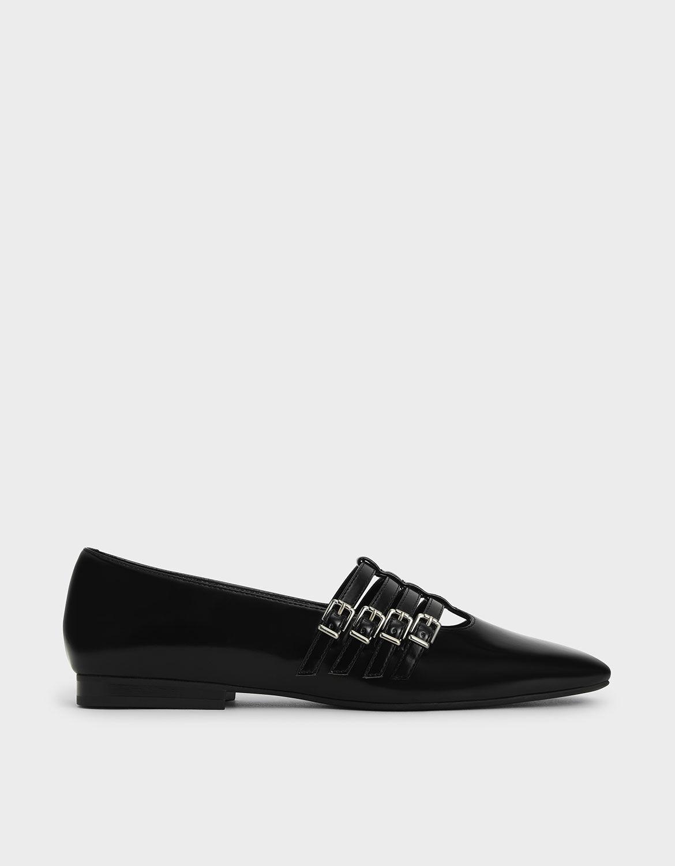 Black Buckled Mary Jane Flats | CHARLES
