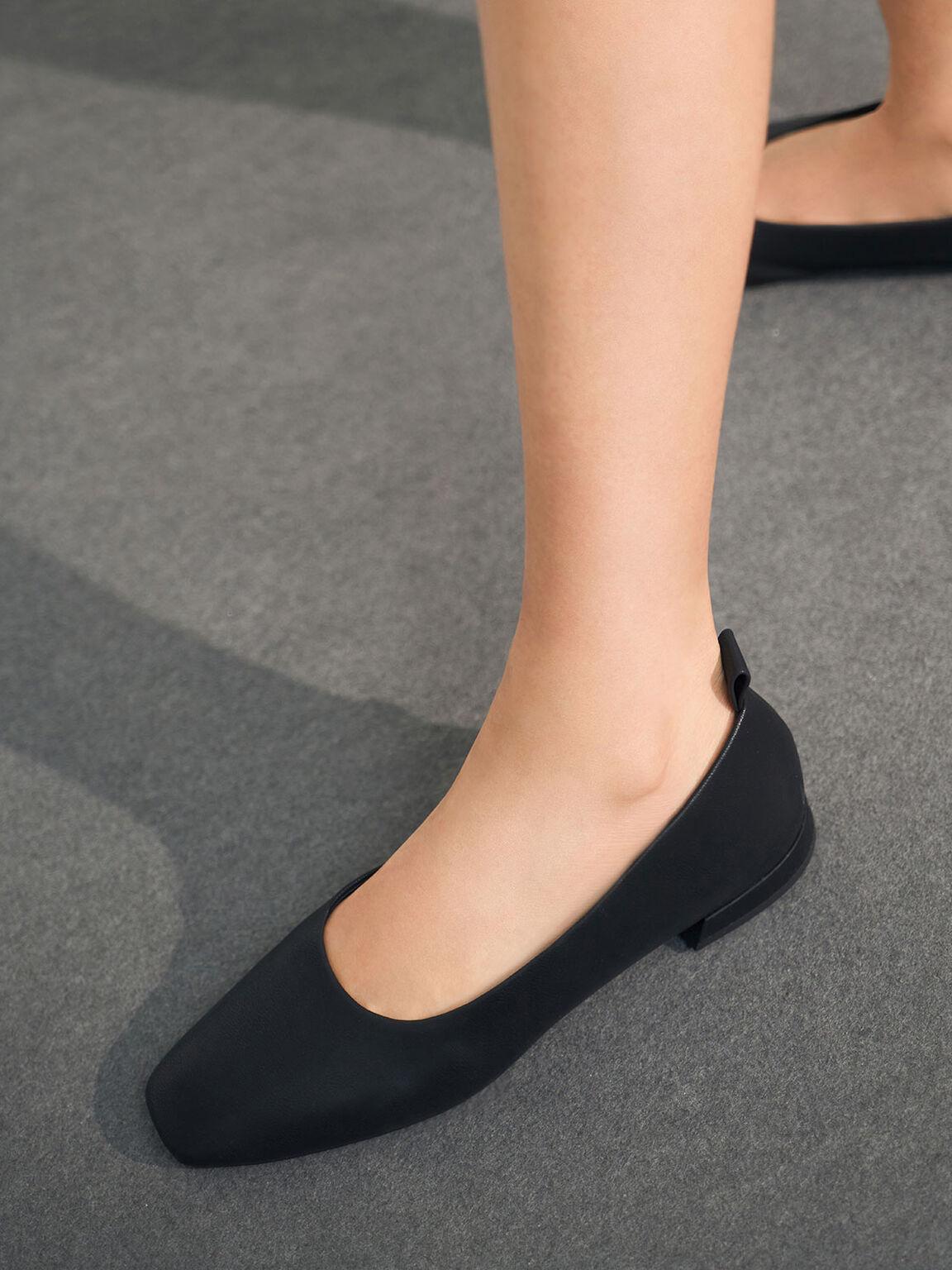 純色方頭平底鞋, 黑色, hi-res
