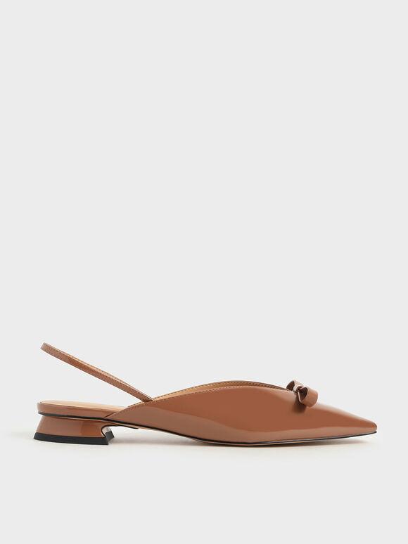 蝴蝶結尖頭平底鞋, 土黃色, hi-res