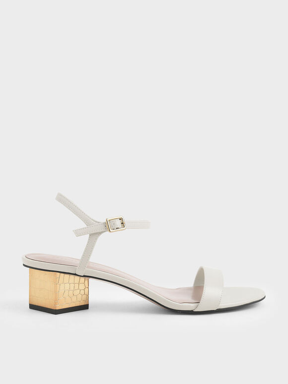Sculptural Chrome Heel Sandals, Chalk, hi-res