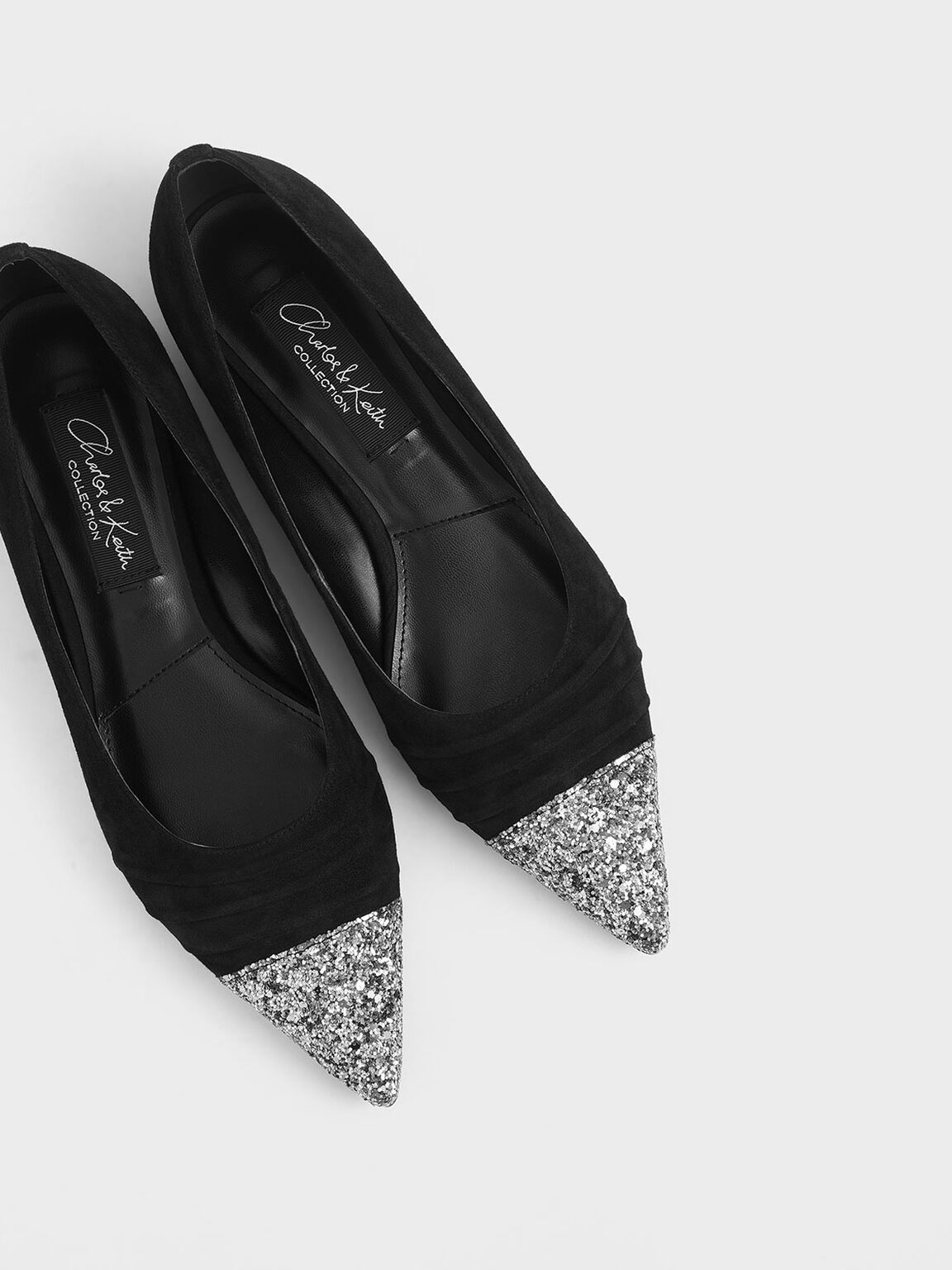 Kid Suede Glitter Ballerina Flats, Black, hi-res