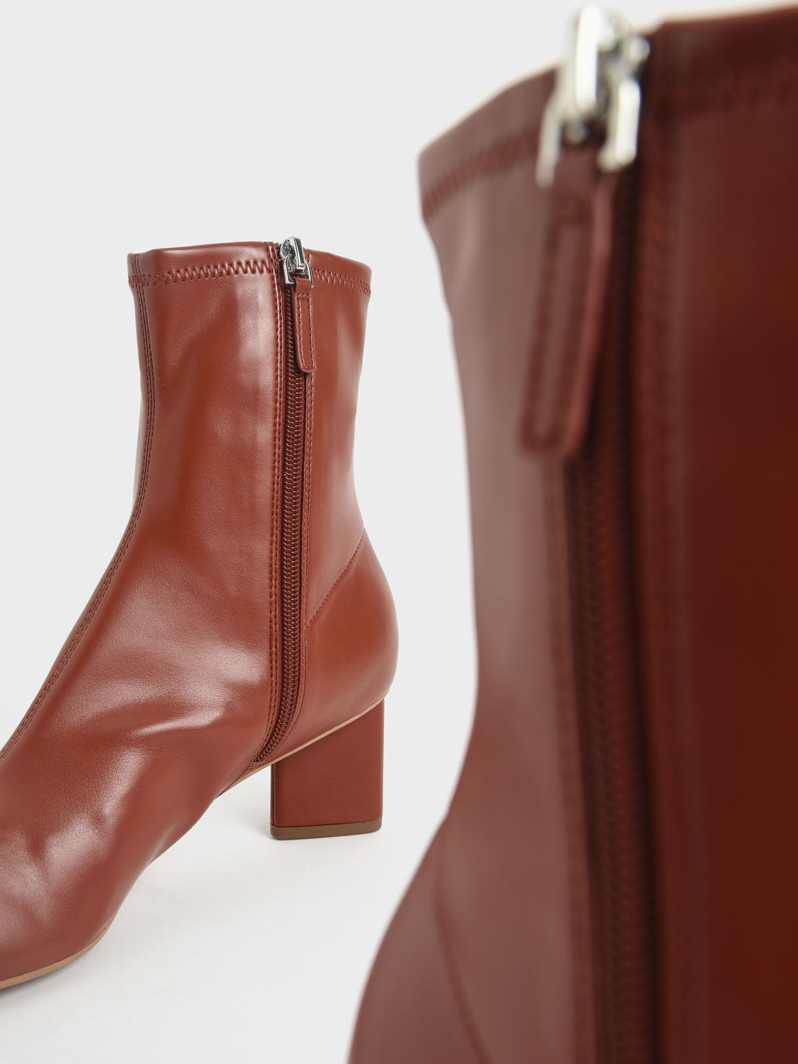 素面造型跟短靴, 磚紅色, hi-res