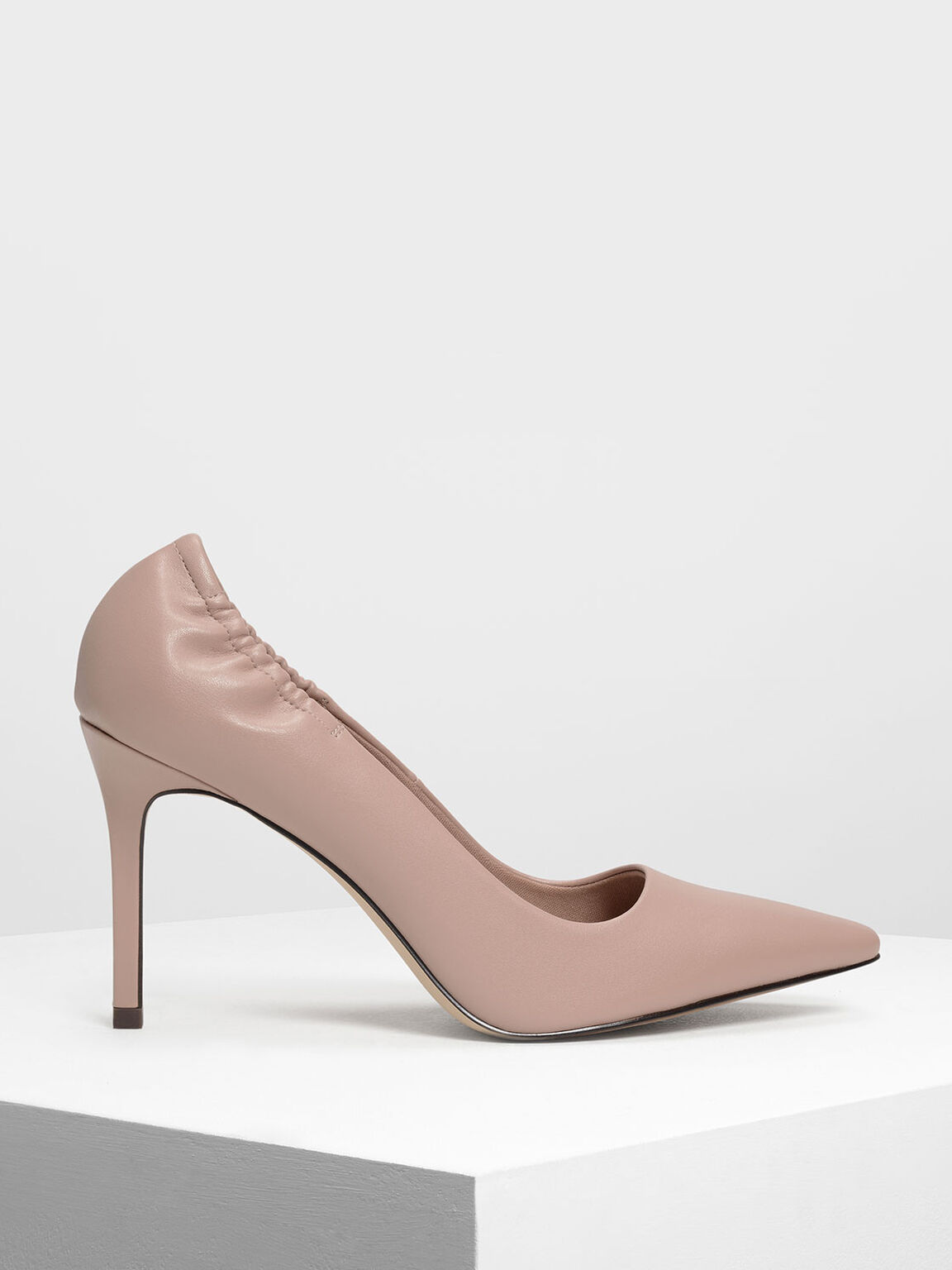 Side Ruched Pointed Toe Pumps, Nude, hi-res