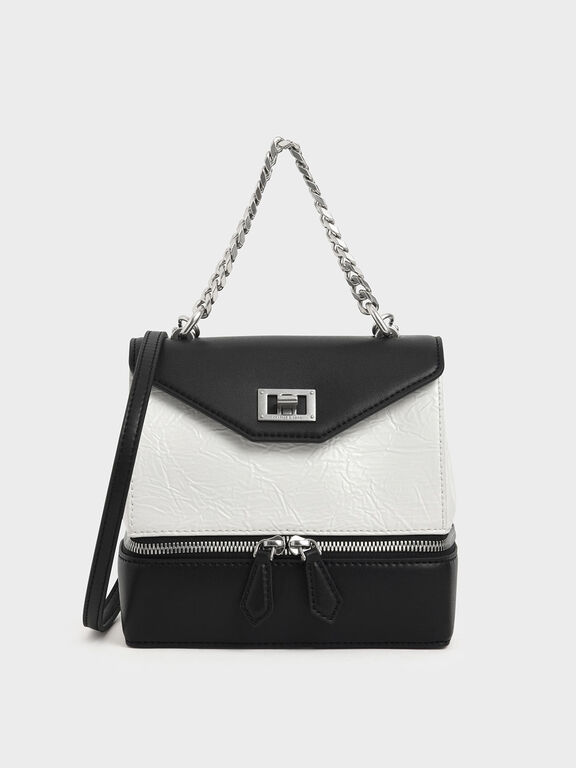 Wrinkled Effect Two-Way Zip Chain Handle Bag, White