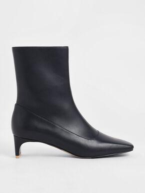 Blade Heel Calf Boots, Dark Blue