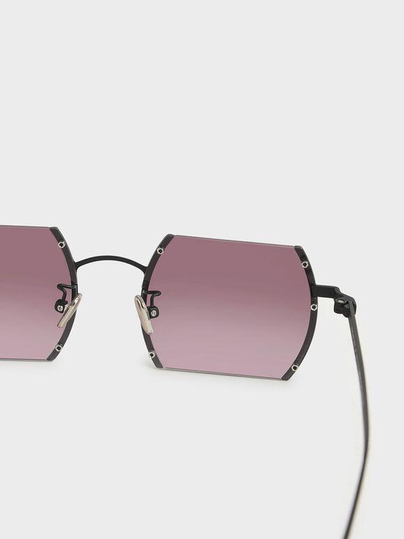 Cut-Off Frame Round Sunglasses, Burgundy, hi-res