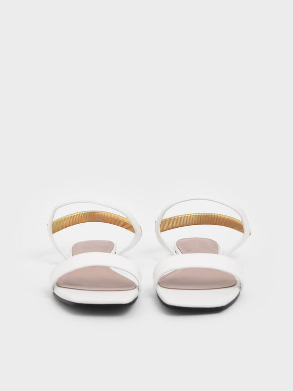 Square Toe Sandals, White, hi-res