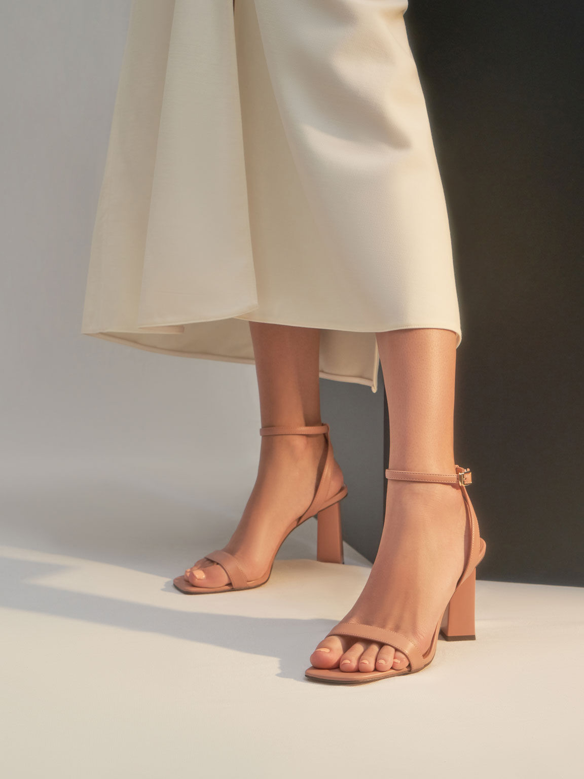 Ankle Strap Geometric Heeled Sandals, Pink, hi-res