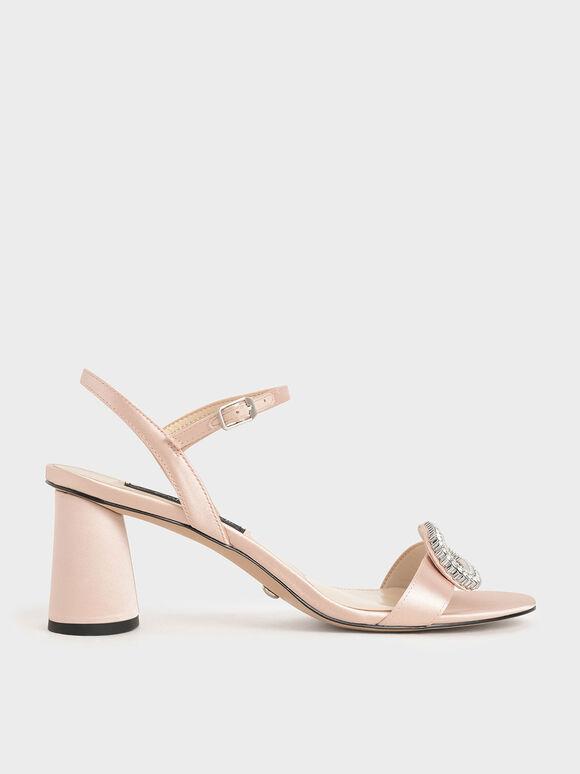 Wedding Collection: Satin Embellished Heeled Sandals, Pink, hi-res