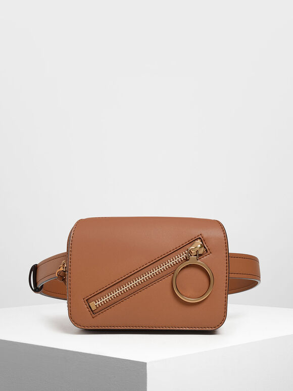 Ring Zip Pocket Two-Way Belt Bag, Tan, hi-res