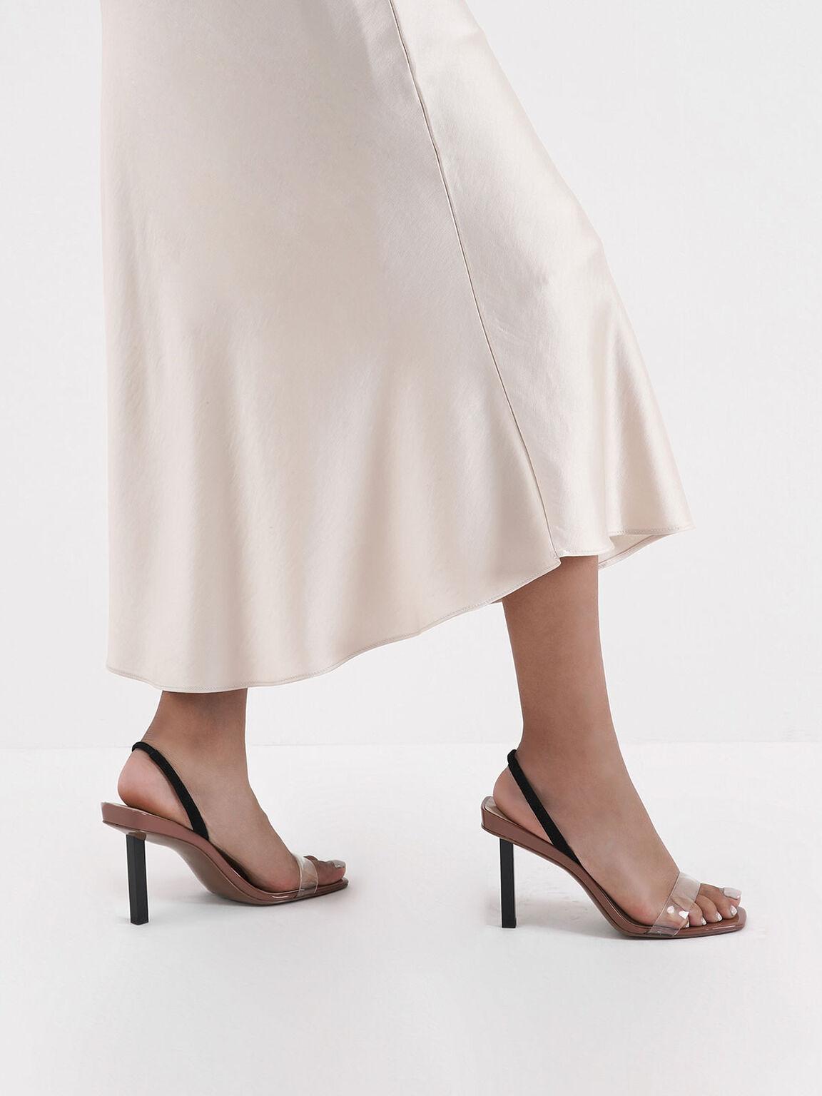 Clear Strap Slingback Heels, Brick, hi-res