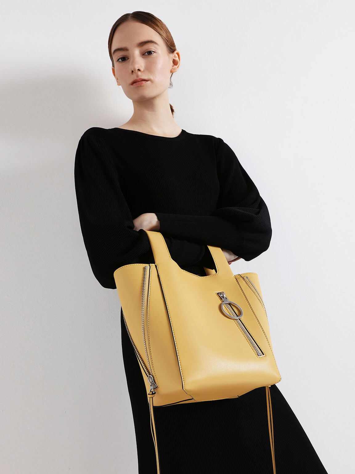 Ring Zip Pocket Square Handle Trapeze Tote, Yellow, hi-res